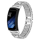 Samsung Watch Band, Accessories Crystal Rhinestone Stainless Steel Metal Watch Bands, Bracelet Strap for Samsung Galaxy Gear Fit 2 Fit2 PRO SM-R360