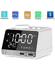 Digital Alarm Clock Radio Alarm Clocks Bedside with Bluetooth 4.2 Speaker,FM Radio,Sleep Timer,Snooze Function,Led Mirror Screen,Dual Alarms,Thermometer and Dual USB Charge Por