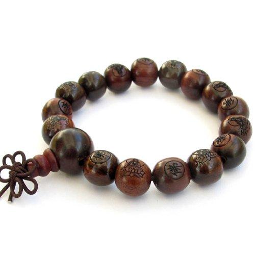 12mm Tibetan Buddhist Wood Buddha Beads Wrist Mala
