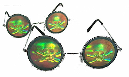 Round Skull and Cross Bones Hologram 3d - Hologram Sunglasses