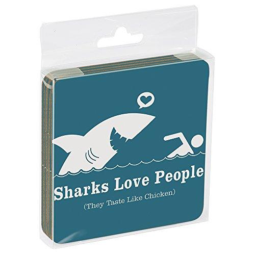 Tree-Free Greetings ECO Coasters Box Set of 4 Drink Coasters, 3.5 x 3.5 Inch, Sharks Love People  (EC96275)