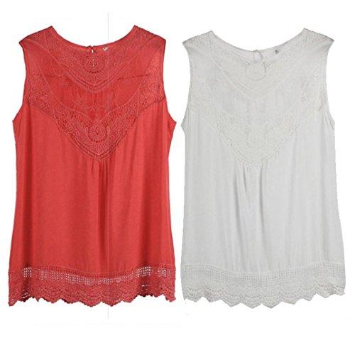 Ouneed Las mujeres de verano sin mangas de encaje blusa casual Tops camiseta Blanco