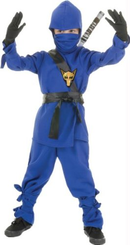 Cool Super Villain Costumes (Underwraps Costumes Big Boy's Children's Blue Ninja Costume, Small 4-6 Childrens Costume, blue, Small)