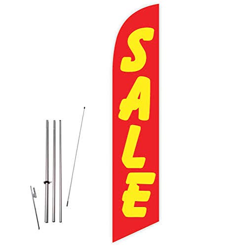Cobb Promo Sale (Red/Yellow) Feather Flag with Complete 15ft Pole kit and Ground -
