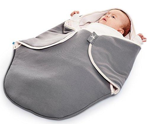 Wallaboo Manta para bebe Coco, muy práctica y ultra suave, 100% algodón, 90 x 70 cm, bebé recién nacido hasta 10 meses, Color: Gris