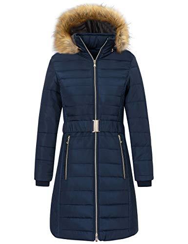 Wantdo Women's Waterproof Winter Puffer Jacket Long Warm Thicken Coat with Fur Hood