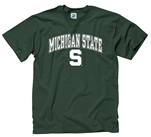 (Campus Colors Michigan State Spartans Adult Arch & Logo Soft Style Gameday T-Shirt - Green,)