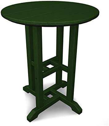 POLYWOOD RT124GR Traditional 24-Inch Round Dining Table, Green