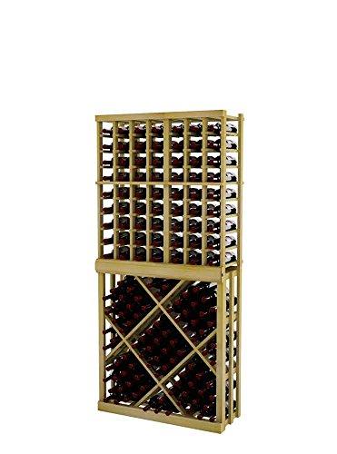 Vintner Series Wine Rack - Individual Bottle Wine Rack with Open Diamond Bin for 117 Bottles - 6 Ft - Pine with Light ()