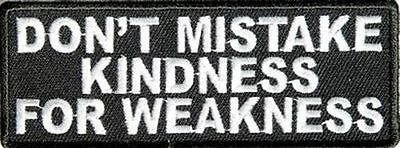 Don't Mistake My Kindness for Weakness Motorcycle New Biker Vest (Nfl Raiders Uniform Costumes)