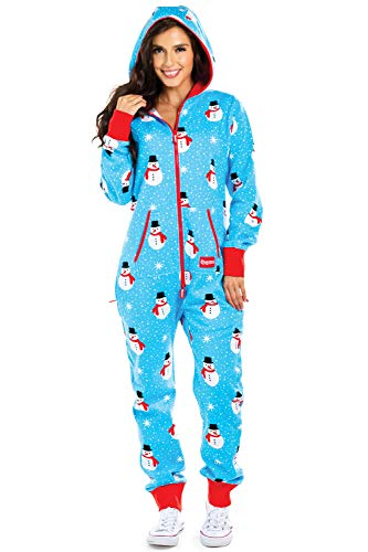(Women's Christmas Onesie - Blue Chilly Snowman Holiday Adult Jumpsuit: Medium)