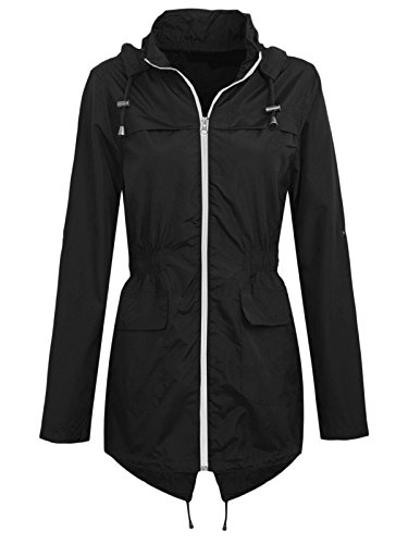 XINHEO Women's Waterproof Windproof Hood Mid-Long Zipper Jacket Coats 3