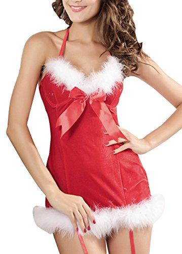 Z-LMDS Women's Sweety Bowknot Fur Trim Strappy Xmas Costume Dress