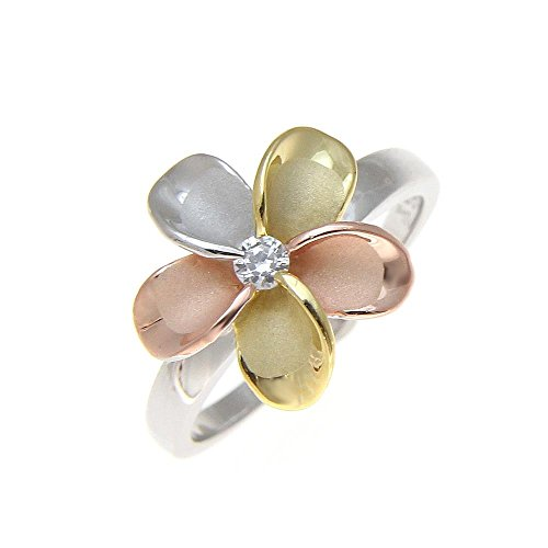 (925 sterling silver Hawaiian yellow pink rose gold rhodium tricolor plated 15mm single plumeria flower cz ring size 9.5)