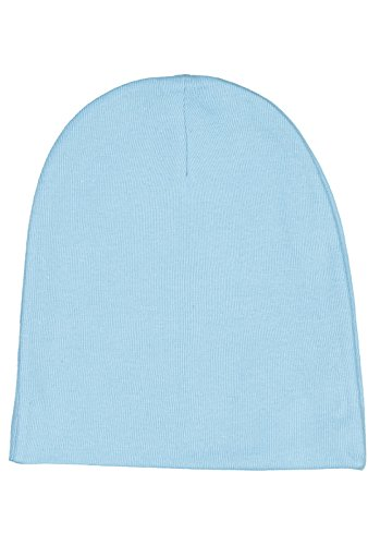 Rabbit Skins Infant 100% Cotton Baby Rib Folded Beanie Cap (Light Blue, One Size Fits All)