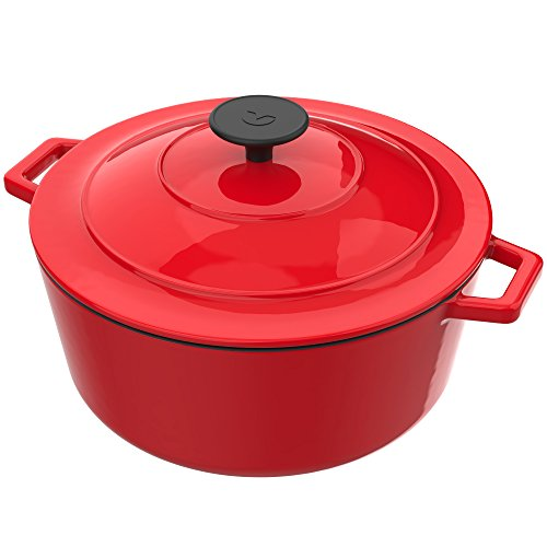 Vremi Enameled Cast Iron Dutch Oven Pot with Lid - 6 Quart Capacity for Preparing Low and Slow Cooking Meals - Electric Gas Stove Top Oven Compatible Cookware - Deep Large Ovenproof - Red Cast Iron Oval Roaster