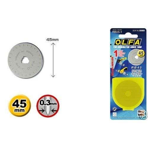 2 X OLFA 45mm Rotary Cutter Replacement Blade (1pk)