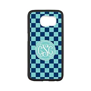 iFUOFF Dark and Light Blue Square VS Circle Monograms Customized Case for Samsung G9200 GALAXY S6 Black Case