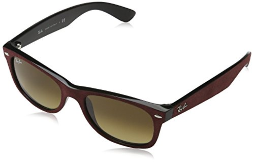 Ray-Ban Men's New Wayfarer Square Sunglasses, Black/Top Brrdo' Alcanta, 55 - Ban Red Ray 2132