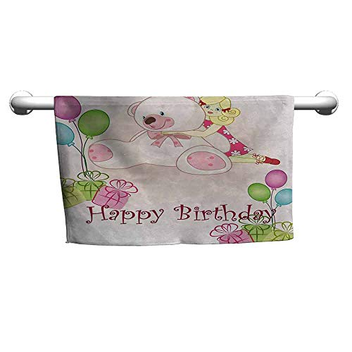 duommhome Kids Birthday Soft Bath Towel Baby Girl Birthday with Teddy Bears Toys Balloons Surprise Boxes Dolls Image W12 x L35 Light Pink from duommhome