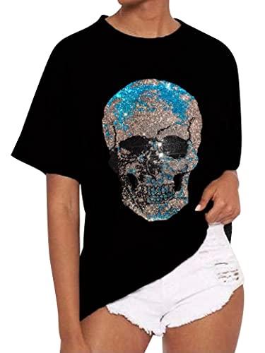 Epuyaito Women Rhinestone Turqoise Skull Hot Fix Print Short Sleeve Round Neck Tee Tops