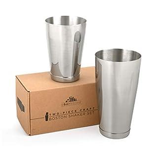 Premium Weighted Cocktail Shaker Set: Two-Piece Pro Boston Shaker Set. 18oz & 28oz Martini Drink Shaker