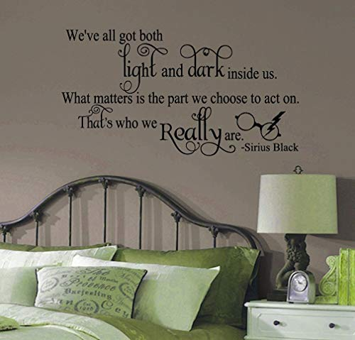 Sirius Black Harry Potter Inspired Weve All Got Light and Dark Quote Vinyl Wall Decal [BLACK] by GMDdecals 28 x 12 Hogwarts Spell Wizard Storybook Décor