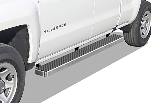APS iBoard (Silver 6 inches) Running Boards | Nerf Bars | Side Steps | Step Rails for 2007-2018 Chevy Silverado GMC Sierra Double Cab/Extended Cab & 2019 2500 HD / 3500 HD