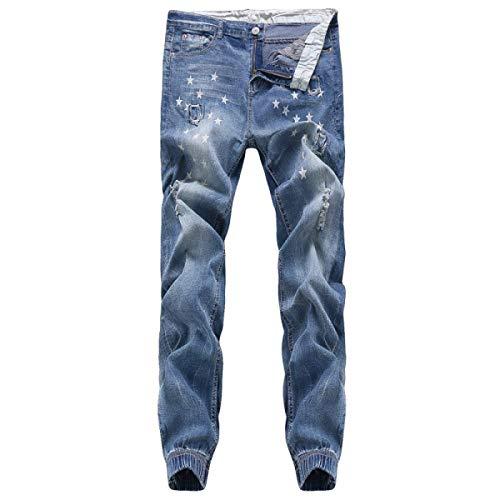 Casual Pantaloni Blu Retrò A Da Vita Bassa Estilo Especial Jeans Strappati Uomo Alta Moda faqCapBwF