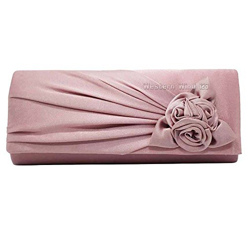 bag Clutch Prom dinner Pattern Satin Rose Pleated Womens Party Wocharm Bouquet Handbag Wedding Evening banquet Pink TM Bag Pale 1qpwPOc8