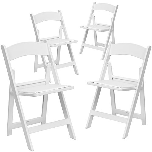 Table Folding Banquet Series (4 Pk. HERCULES™ 1000 lb. Capacity White Resin Folding Chair with White Vinyl Padded Seat)