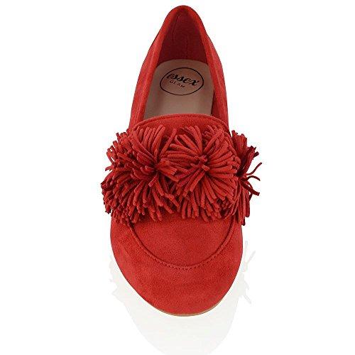 Ballerine Da Donna Essex Glam Casual Slip On In Ecopelle Scamosciata Scamosciata Rosso Faux Suede