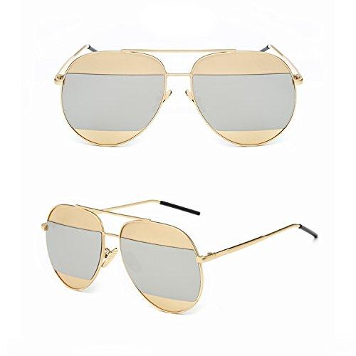 Split Mirrored Lens Unisex Sunglasses Madison Eyewear (Gold Frame, Silver Mirror - Split Sunglasses