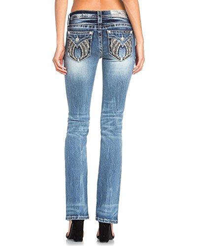 Miss Me Women's Studded Wing Slim Boot Cut Jeans Indigo 27 by Miss Me