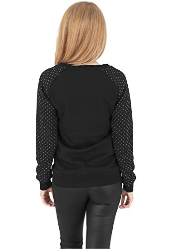 Urban Classics TB1069 Ladies Cross Quilt Raglan Crew, Farbe:blk/wht;Größen:L