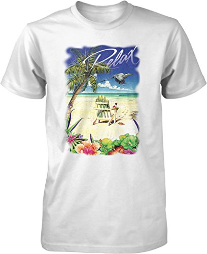 Relax, Palm Tree, Tropical Beach Scene Men's T-shirt, NOFO Clothing Co. L - Palm Fashion Beach