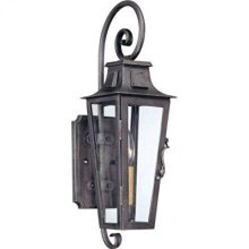 Troy Lighting French Quarter 1-Light Outdoor Wall Lantern - Aged Pewter Finish with Clear Glass by Troy