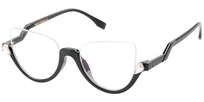 eb6afd6b697e7 SOOLALA Womens Modern Semi-rimless Cateye Clear Lens Eyeglasses Frame Reading  Glasses