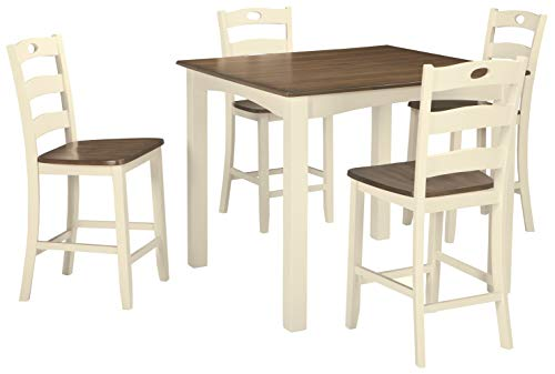 Signature Design by Ashley Woodanville Counter Height Dining Room Table and Bar Stools (Set of 5), Cream/Brown