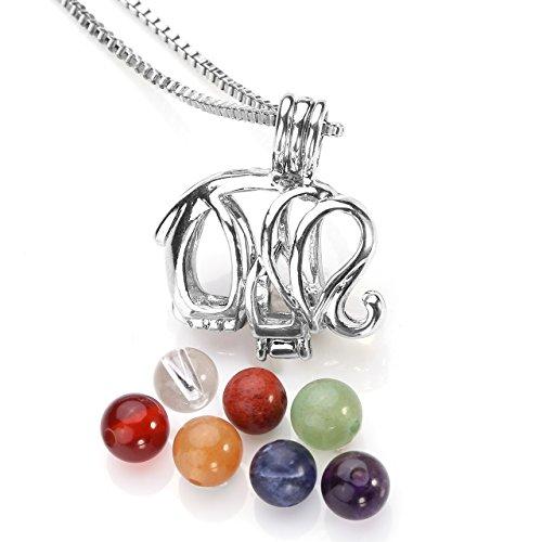 Top Plaza 7 Chakra Reiki Healing Energy Crystals Natural Gemstones Beads Yoga Meditation Silver Hollow Locket ()