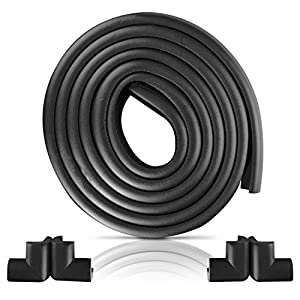 Furniture Edge and Corner Guards   16.2ft Protective Foam Cushion   15ft Bumper 4 Adhesive Childsafe Corners   Baby Child Proofing Foam Set and Safe for Table, Fireplace, Countertop   Black