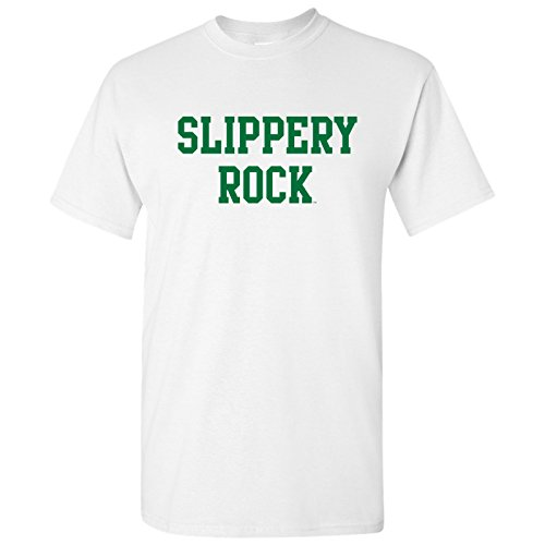 (AS01 - Slippery Rock University Rocky Basic Block T-Shirt - X-Large - White)