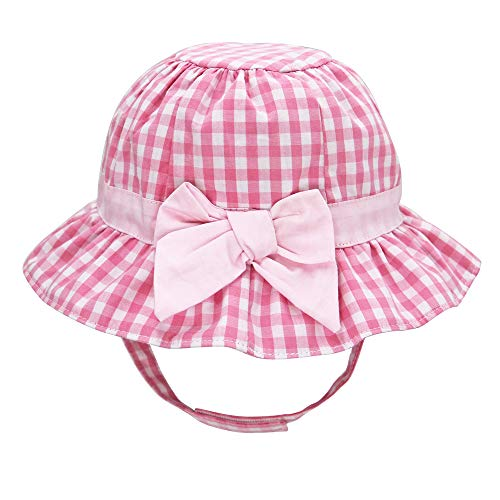 Baby Girl Floppy Sun Hat Infant Toddler Print Bowknot Summer Cotton Play Bucket Cap UPF 50+ Sun Protection