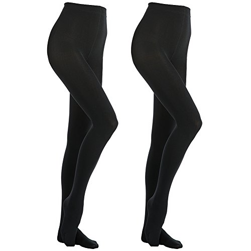 MANZI Women's 2 Pairs Super Opaque with Fleece Soft Black Tights 400 Denier