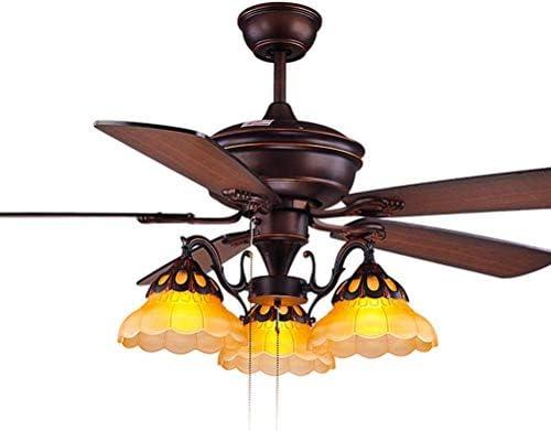 Araña de luces para restaurante de 3 luces, ventiladores de techo con lámpara, aspas de madera para ventilador, iluminación colgante rústica vintage para ventilador, interruptor de cuerda: Amazon.es: Iluminación