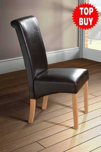 Roll Scroll Back Faux Leather Dining Room Chair