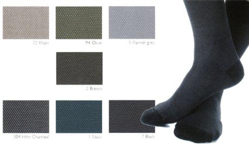 Marcoliani Men's ExtraFine Cotton Lisle MidCalf Birdseye Dress Sock One Pair Khaki