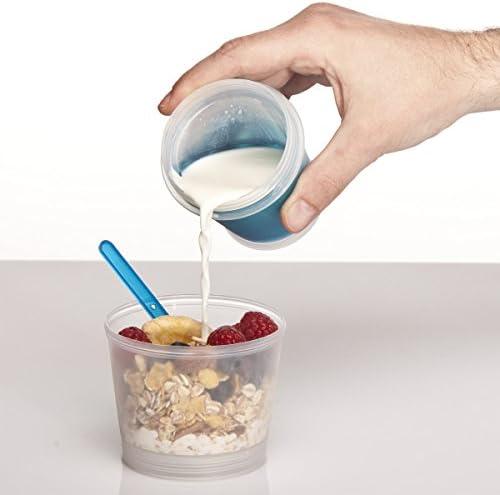 blupalu M/üslibecher to go mit isoliertem Milch-K/ühlfach M/üsli-Fach /& L/öffel 2-go f/ür unterwegs blau