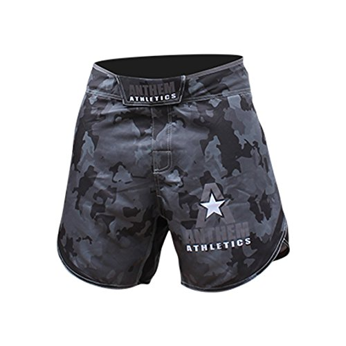 Anthem Athletics DEFIANCE Kickboxing Short MMA Shorts – Muay Thai, BJJ, WOD, Cross-Training, OCR – Night Camo – 32″