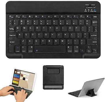 Teclado inalámbrico Bluetooth, GOOJODOQ Teclado Bluetooth 3.0 de 10 pulgadas con soporte aplicado a tabletas y teléfonos inteligentes IOS / Android / ...